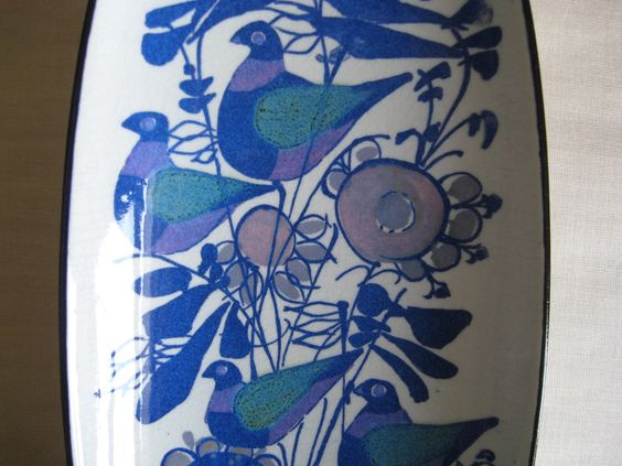 Aluminia / Royal Copenhagen - oblong birds tray - 149/2744 - Kari Christensen. kr480.00, via Etsy.