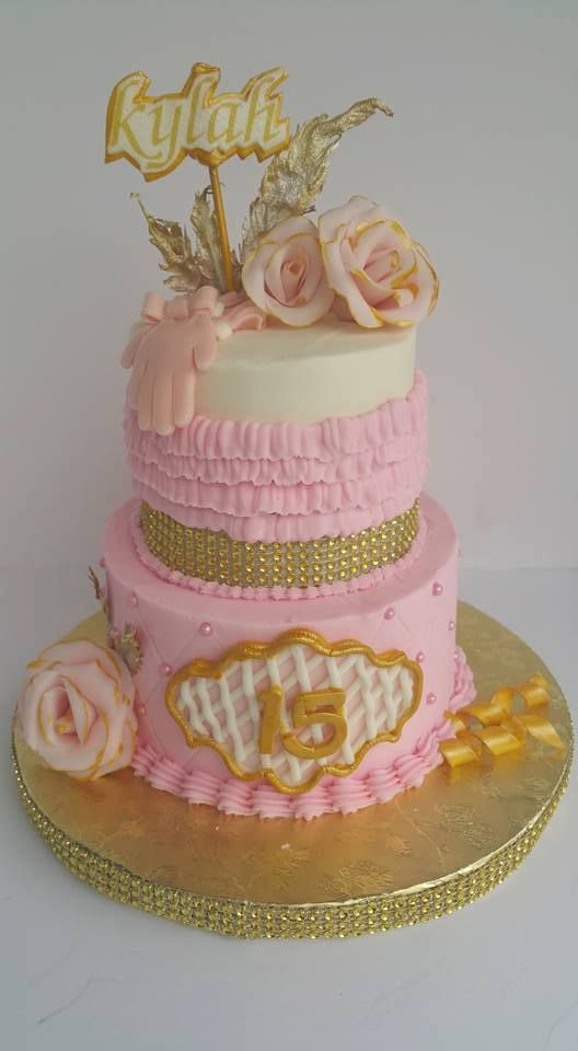 Phenomenal 15 Birthday Girls Cake Pink White And Gold With Images Birthday Cards Printable Riciscafe Filternl