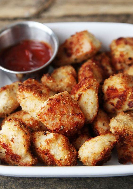 "Seasoned Baked Chicken Nuggets Recipe Every time we have chicken it goes like this. Me: We're having chicken. C: Chicken nuggets? Going to try this so I can say ""YES"" for once!"
