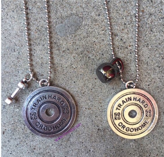 """Customize your own fitness necklace with tons of charms to choose from. Perfect for the beast in you or your life.  www.fitvida.com """"Livin the fitvida"""" #workout #crossfit #powerlifting #gym #boxing #muaythai #fitness #weightlifting #strong swolemates train together stay together"""