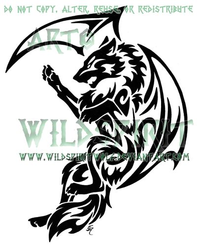 tribal dragon wolf tattoo by wildspiritwolf on deviantart tattoo ideas pinterest deer. Black Bedroom Furniture Sets. Home Design Ideas
