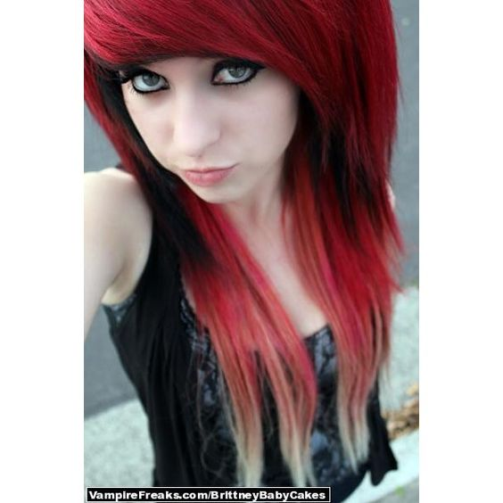 Black Emo Girl Red Hairs | beautiful long red hair cool ...