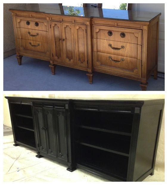 Converted 9 drawer dresser into TV stand / Media Unit www.facebook.com/vintagekeyantiques Vintage, shabby, refinished, painted, before and after, refurbished, furniture, DIY, make-over