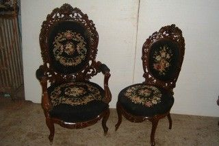 c1850 Rococo parlor chairs, laminated rosewood, 46,40, 12-3.