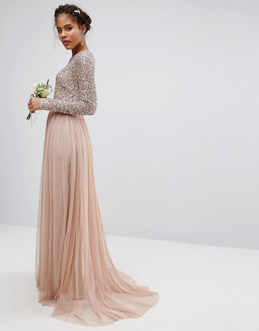Maya Tall | Maya Tall long sleeve sequin top maxi tulle