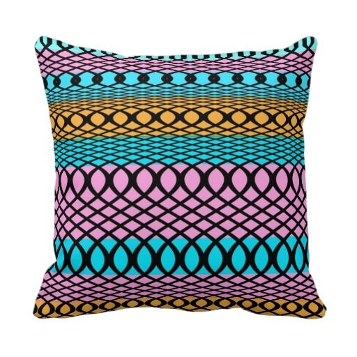 Stripes Swirls Loops Trendy Pattern pink teal orange funky home decor throw pillows - cushions