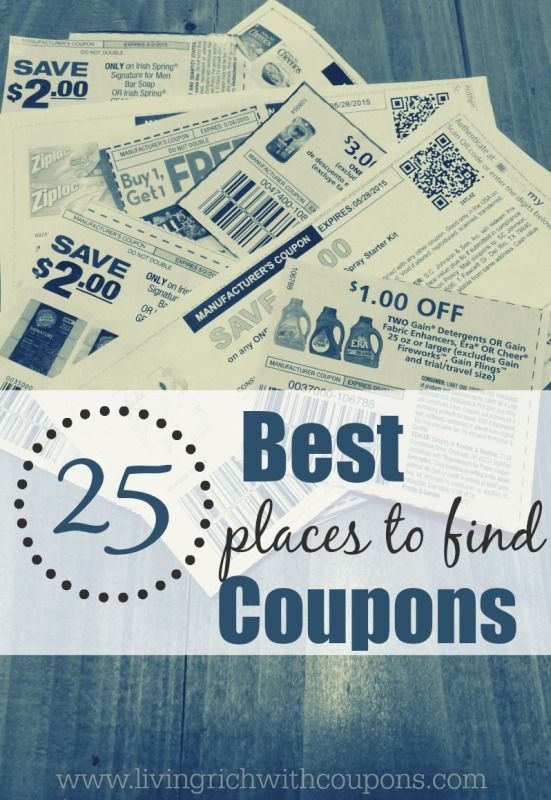 Top 25 Best Places to Find Coupons including Manufacturer Coupons and Store Coupons. Stack and save!