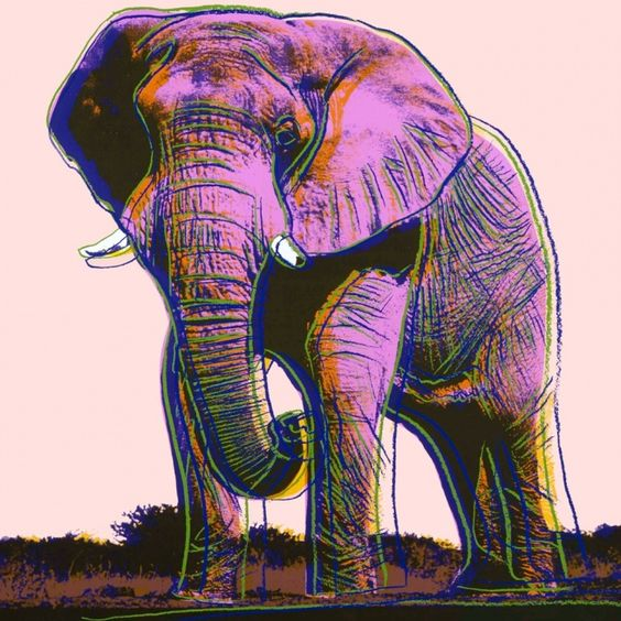 Andy Warhol - Elephant, 1983 - endangered species series.: