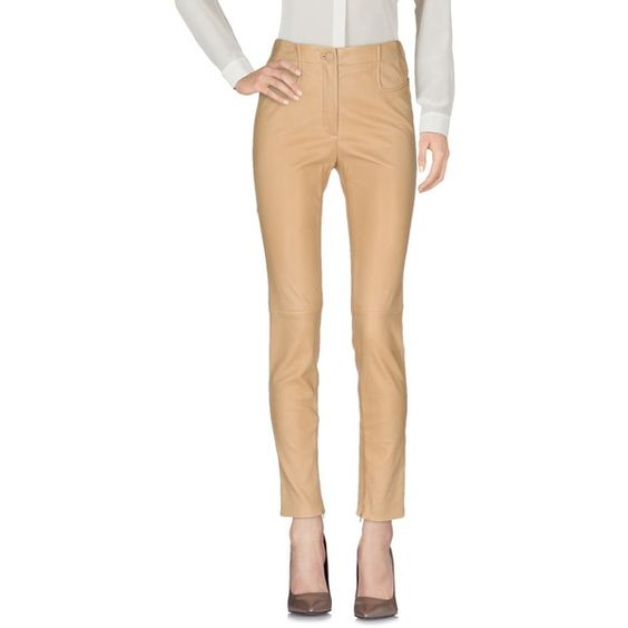 Mugler Casual Pants ($1,112) ❤ liked on Polyvore featuring pants, sand, leather zip pants, slim pants, tapered leg pants, zipper pants and leather zipper pants