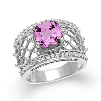 Cushion-Cut Lab-Created Pink and White Sapphire Ring in Sterling Silver - Size 7 - Gordon's Jewelers