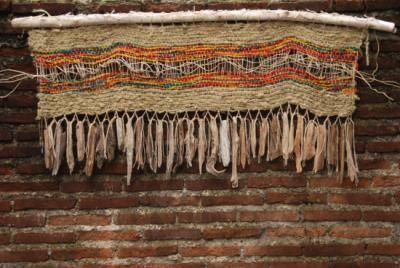 tapiz telar lana,madera telar