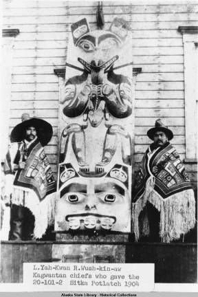 L. Yah-Kwan R. Wush-kin-aw, Kagwantan chiefs who gave the Sitka Potlatch 1904. :: Alaska State Library-Historical Collections