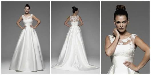pequeño ramo de novia años 50 para complementar tu vestido de novia en alquiler estilo Christian Dior años 50.
