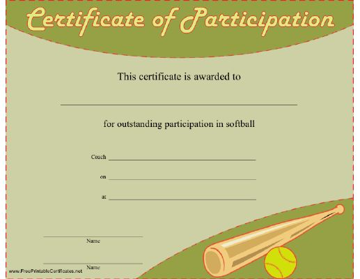 A printable certificate to be presented to a person or team - certificate of participation free template