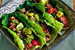lettuce wraps with cilantro, lime, tomato-avocado salsa, chiles, and cumin