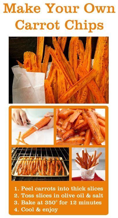 ZANAHORIAS CRUJIENTES.  Raya varias zanahorias en tiras extra delgadas, condiméntalas con aceite de oliva y sal. Mételas al horno a 200° por 12 minutos y disfrútalas a tu gusto.