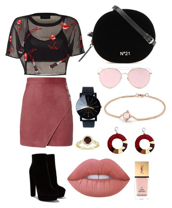 """Kiss me"" by soninha97 on Polyvore featuring Michelle Mason, LMNT, David Yurman, Lime Crime and Yves Saint Laurent"