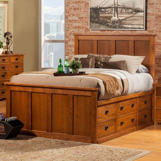 Mission Wood Pedestal Storage Bed In Mission Oak By