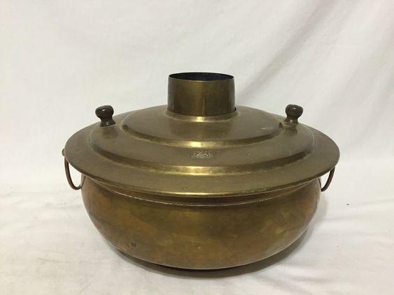 Asian Vintage Brass Hot Pot Chafing Serving Korean Steamer ...