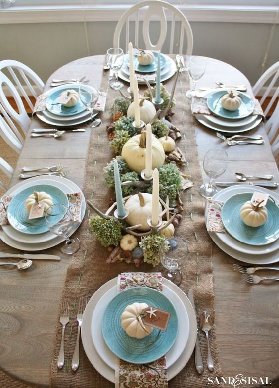 Coastal Thanksgiving or fall Tablescape. White pumpkins with turquoise! Gorgeous!: