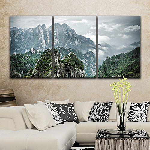 3 Panel Mountains Landscape With Green Trees Home Art X 3 Panels Fall Canvas Art Canvas Art Wall Decor Canvas Wall Art