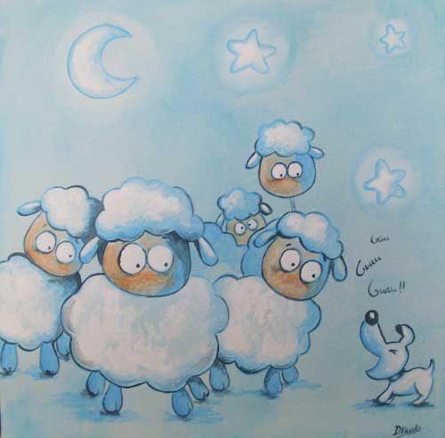 Cuadro infantil ovejas pictures pinterest c mic for Dibujos infantiles pintados