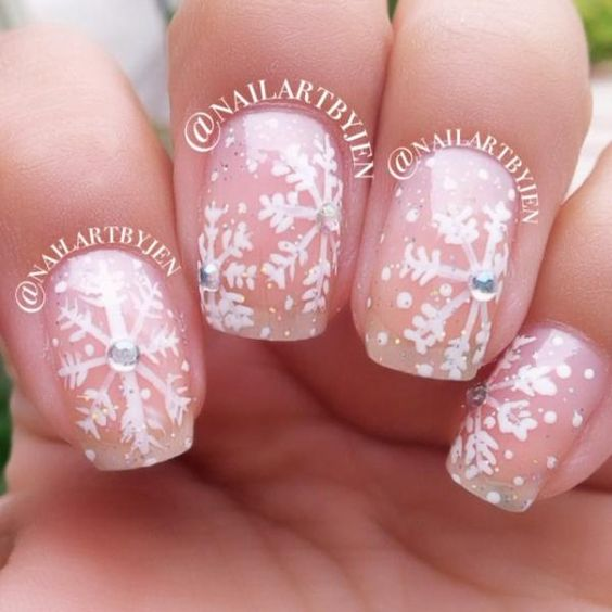 Instagram's @nailartbyjen created a soft snowflake pattern for a winter wedding.