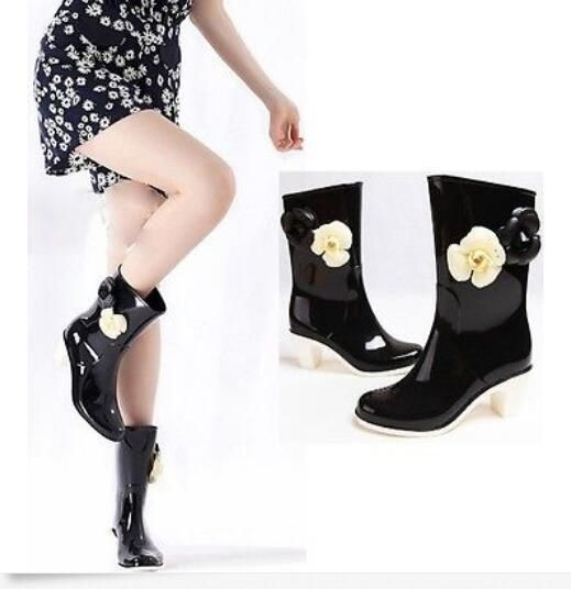 Women'S  Fashion Hot Floral High Heels Rain Ankle Boots Black Shoes Waterproof