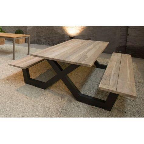 Table pique-nique avec bancs en teck massif et pieds en ...