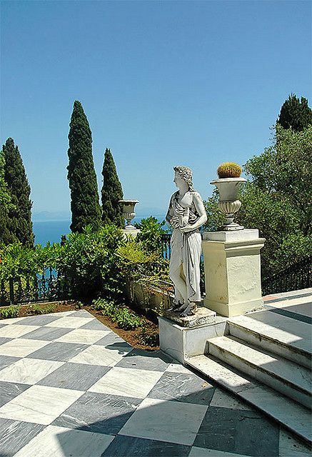 Greek Garden, Corfu, Greece. Visit the Achilleon Palace whilst on holiday in Corfu