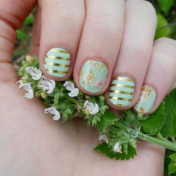 Mint Green and Gold Stripe and Vintage Chic