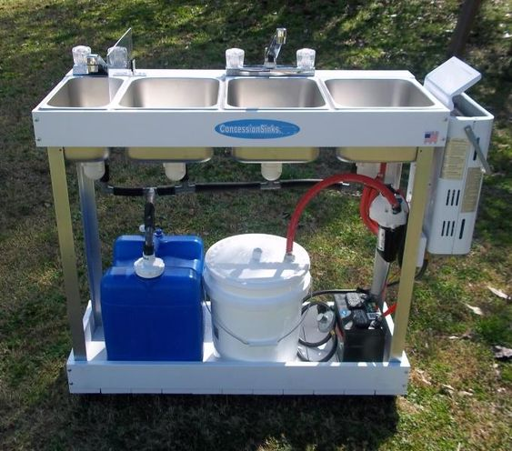 Portable Sink Mobile Concession 3 Compartment Hot Water Large Basin