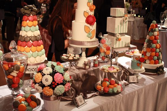 Great dessert table! Love the color pallette.