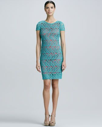 Models demo'd in store exquisite! No underline viable as seen here. Lolly Scroll Lace Dress by Elie Tahari at Neiman Marcus.