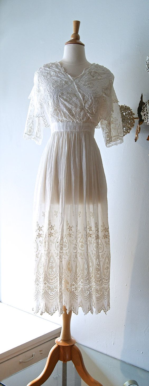 Reserved dwardian wedding dress vintage cotton lace for Vintage victorian wedding dresses