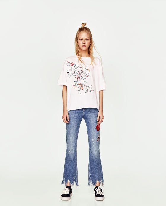 ZARA - WOMAN - T-SHIRT WITH EMBROIDERED DETAIL