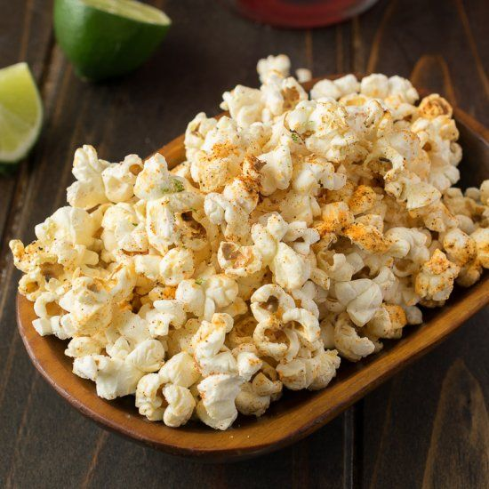 Mexican popcorn.  Mexican spices over warm, freshly popped popcorn and melted butter and a mixture of cotija cheese and fresh lime zest.