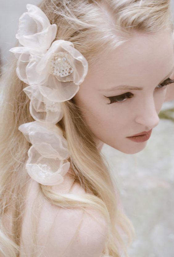 Fairytale Flower Bridal Hair Clips Set of 6 Pastel Peach Hair Flower Pins Weddings Hair Accessories Bridesmaid Hair Flower Girl Hair Clip