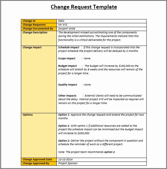 It Project Request Form Template Inspirational 4 Change Management