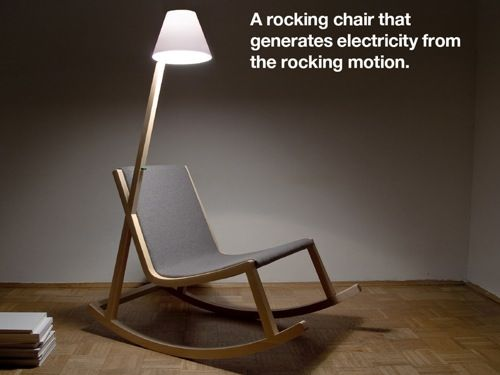 Murakami Chair: Power Generating Rocker, rocking motion generates power and this reading light is a good match and useful too!