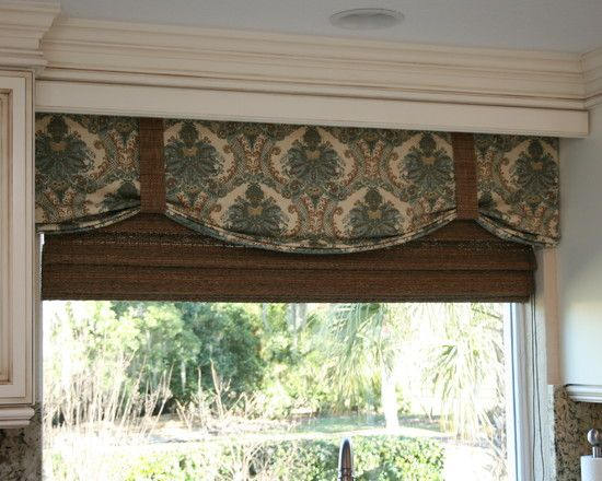 Amazing kitchen window valances faux shade for kitchen for Kitchen cornice ideas