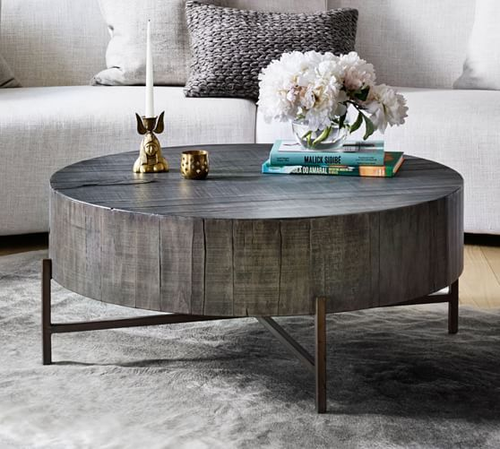 Fargo Round Coffee Table Distressed Gray Patina Copper Round