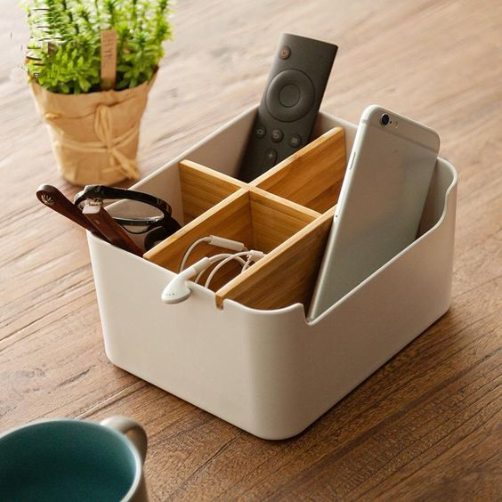 Simple Japanese style multi-function desktop storage box