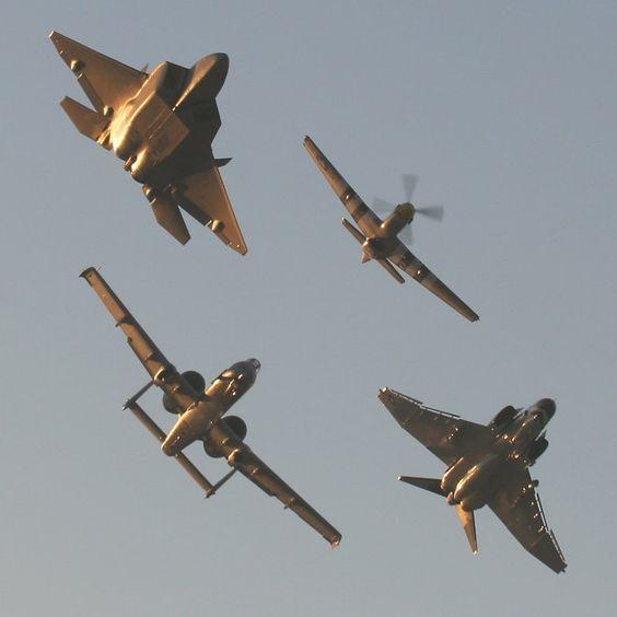 Heritage flight with Mustang, Phantom, Warthog, and Raptor
