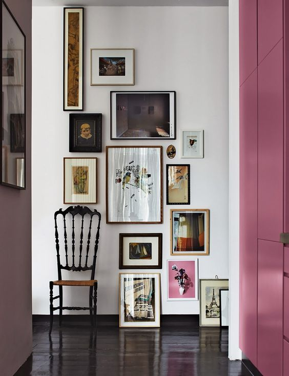 Wall art, frames, photography, chair, door, color pop, pink