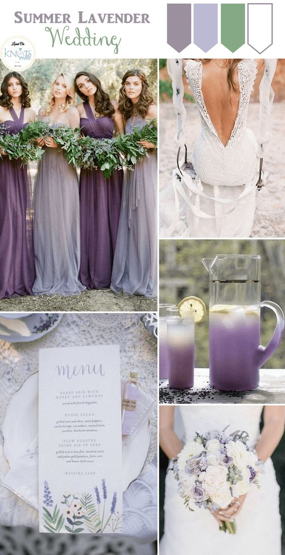 Lavender weddings lavender and wedding inspiration on for Summer wedding color combinations