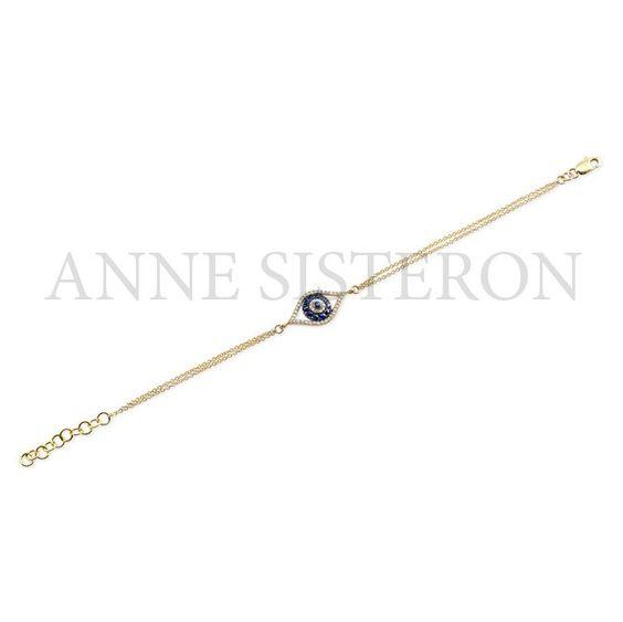 14KT Yellow Gold Diamond Sapphire Evil Eye Bracelet
