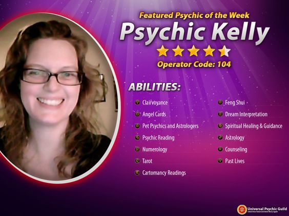 "FEATURED PSYCHIC OF THE WEEK: #Psychic Kelly (Operator Code: 104)Offering messages the blessed messengers have. Her perusing style is not the ""standard thing"" of most psychic⁄readers you may discover -..."