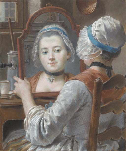 c. 1750, A girl wearing a cap, looking at herself in a mirror with a chocolatière and a cup on the table at auction Christie's