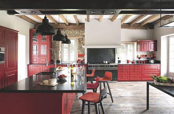 Idees De Cuisine Moderne Pour Les Petits Espaces : cuisine imaginée meuble cuisine rouge and more piano rouge cuisine